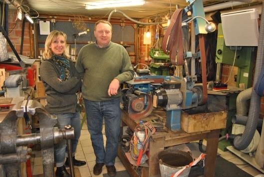 Eric et Véronique, dans leur atelier à Enghien (photo: MBe.)
